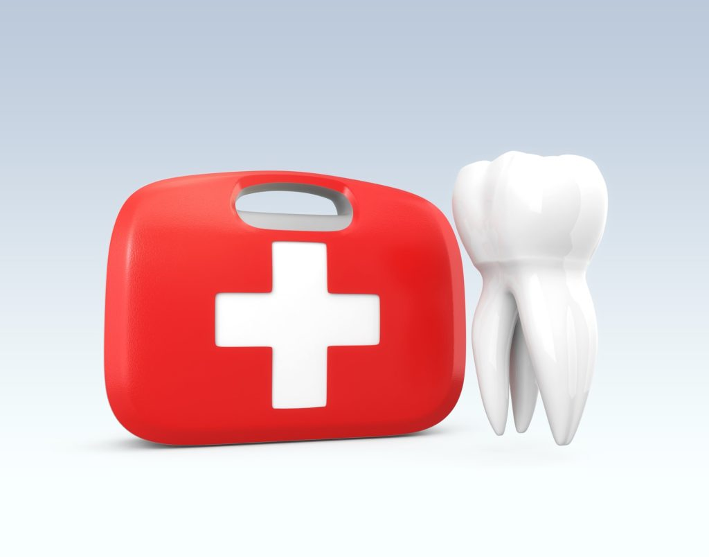 Illustration of a red first aid kit with a white tooth beside it