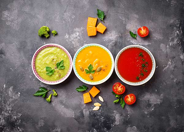 display of three different soups